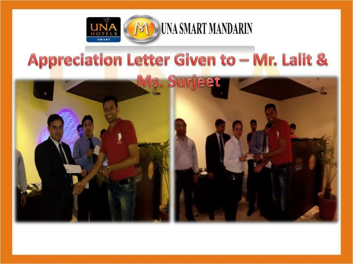 Appreciation Letter Given to – Mr. Lalit & Ms. Surjeet
