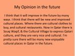 my opinion in the future
