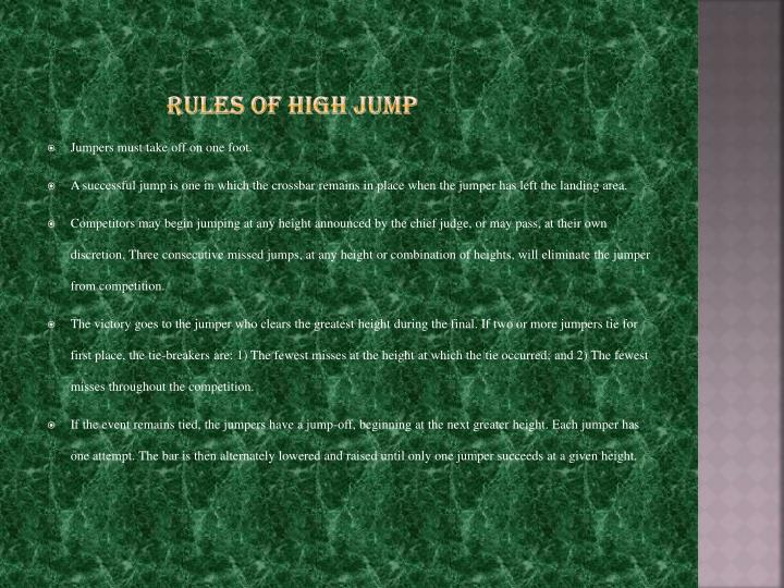 Rules of high jump