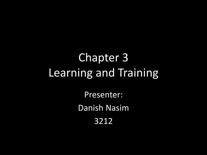 chapter 3 learning and training n.