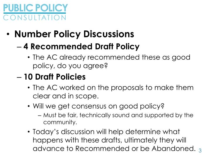 Number Policy Discussions