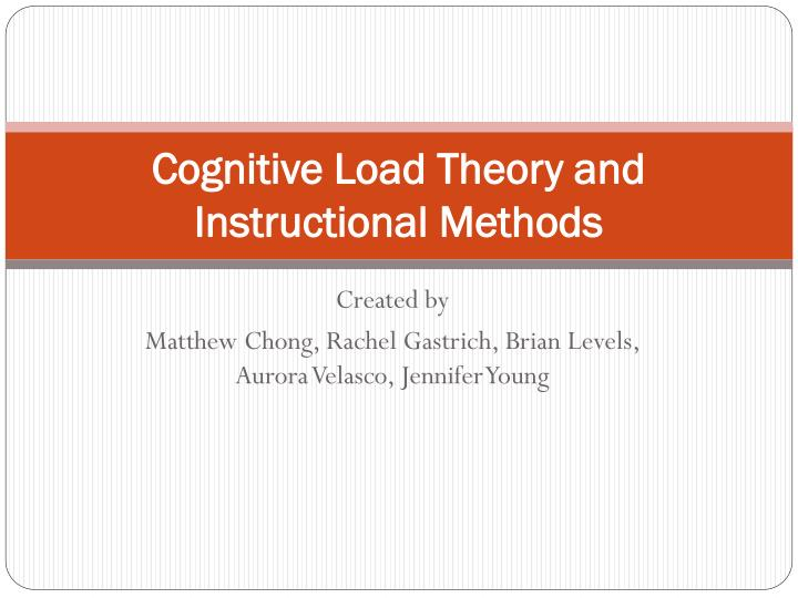 cognitive load theory and instructional methods n.