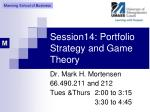 session14 portfolio strategy and game theory