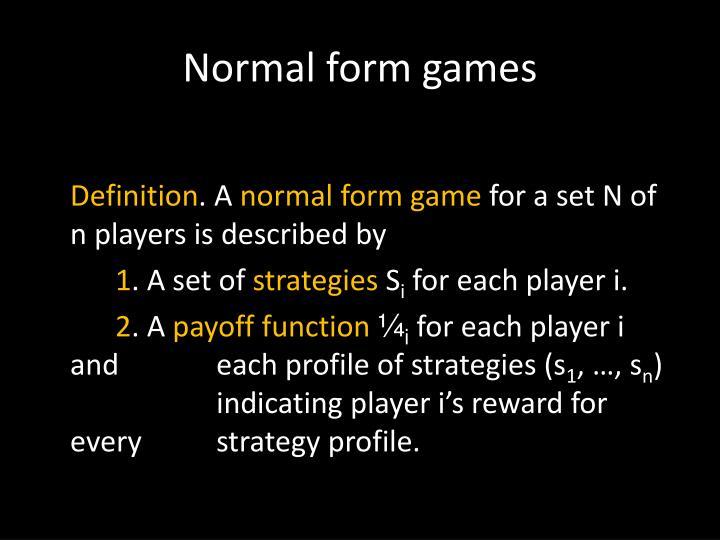 Normal form games
