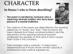 character in stanza 1 who is owen describing