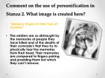comment on the use of personification in stanza 2 what image is created here