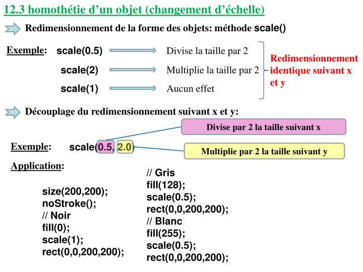 12.3 homothétie d'un objet (changement d'échelle)