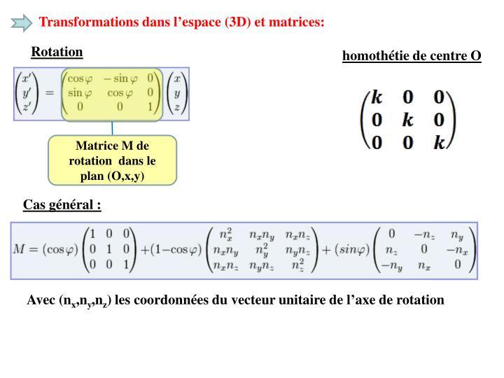 Transformations dans l'espace (3D) et matrices: