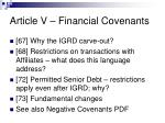 article v financial covenants