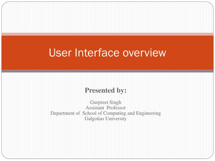 user interface overview n.