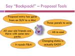 say backpack proposal tools