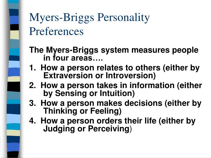 myers briggs personality preferences n.