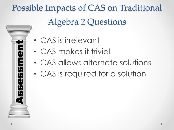 Possible Impacts of CAS on Traditional Algebra 2