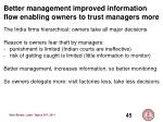 better management improved information flow enabling owners to trust managers more