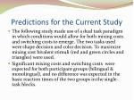 predictions for the current study