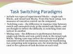 task switching paradigms