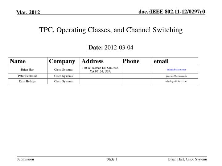 tpc operating classes and channel switching n.