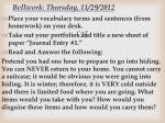 bellwork thursday 11 29 2012