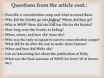 questions from the article cont