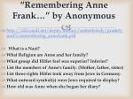 remembering anne frank by anonymous