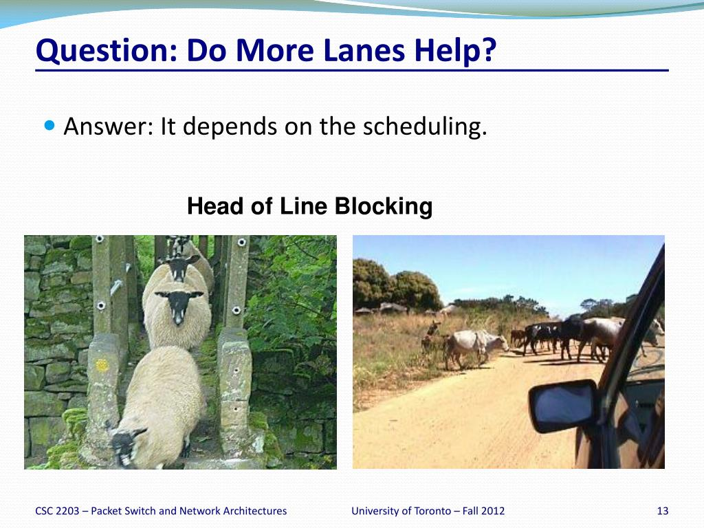 PPT - Handout # 7: Input-queued Switches – Head of Line Blocking