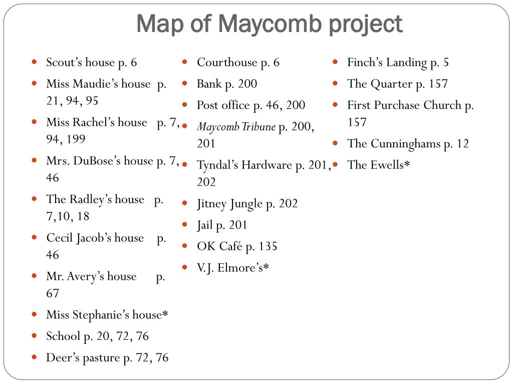 PPT - Map of Maycomb Project PowerPoint Presentation - ID ...