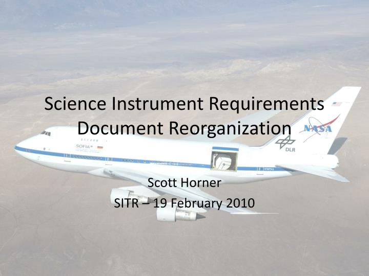 science instrument requirements document reorganization n.