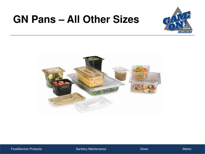 GN Pans – All Other Sizes