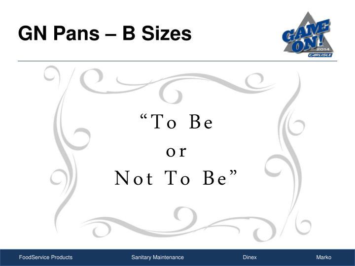 GN Pans – B Sizes