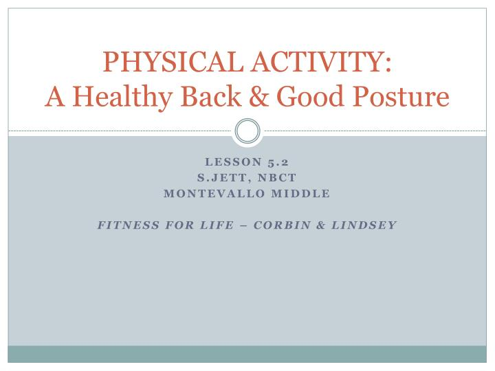 physical activity a healthy back good posture n.