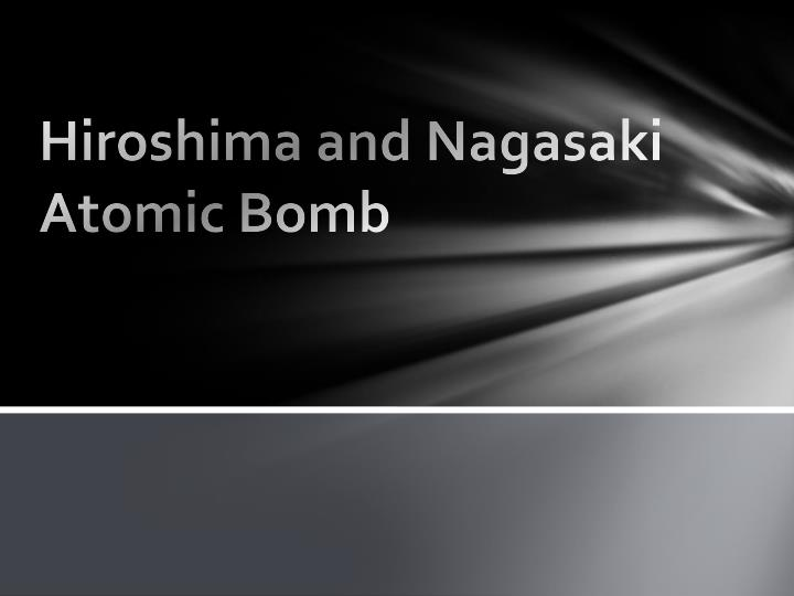 hiroshima and nagasaki atomic bomb n.