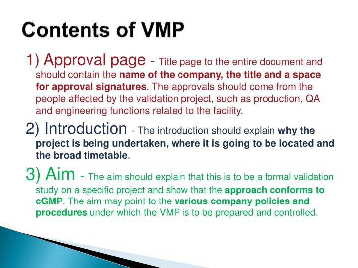 Contents of VMP