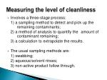 measuring the level of cleanliness