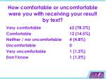 how comfortable or uncomfortable were you with receiving your result by text