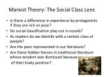 marxist theory the social class lens