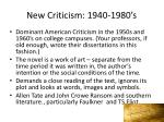 new criticism 1940 1980 s