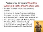 postcolonial criticism what one culture did to the other culture lens