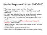 reader response criticism 1960 2000