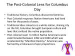 the post colonial lens for columbus day