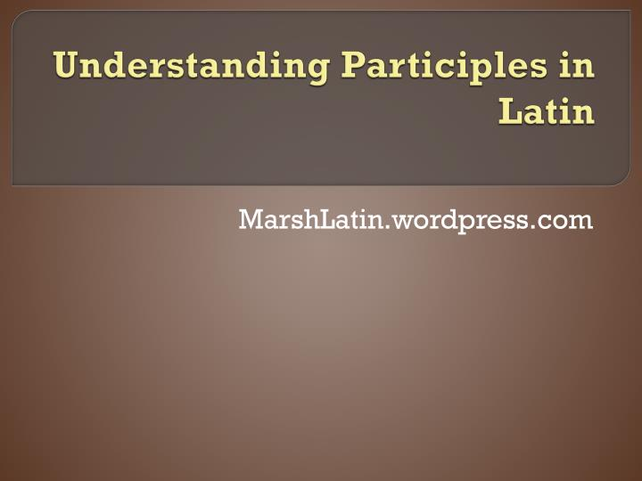 understanding participles in latin n.