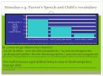 stimulus e g parent s speech and child s vocabulary