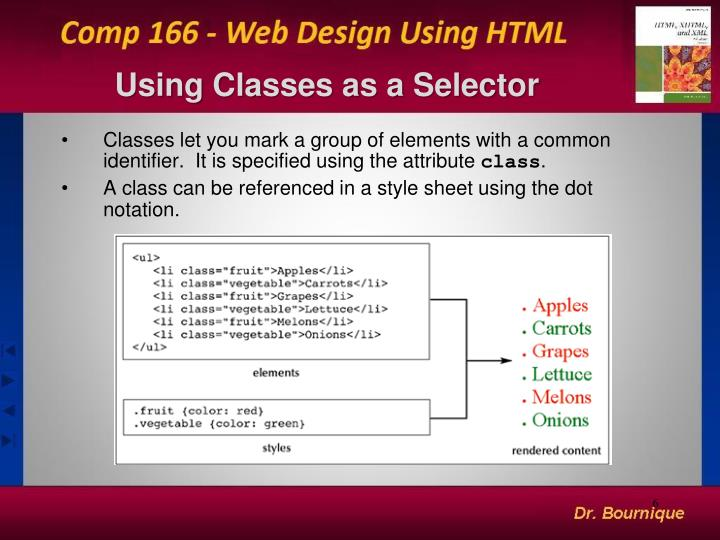 Using Classes as a Selector
