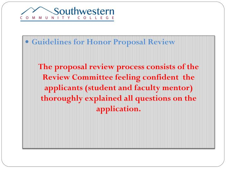 Guidelines for Honor Proposal