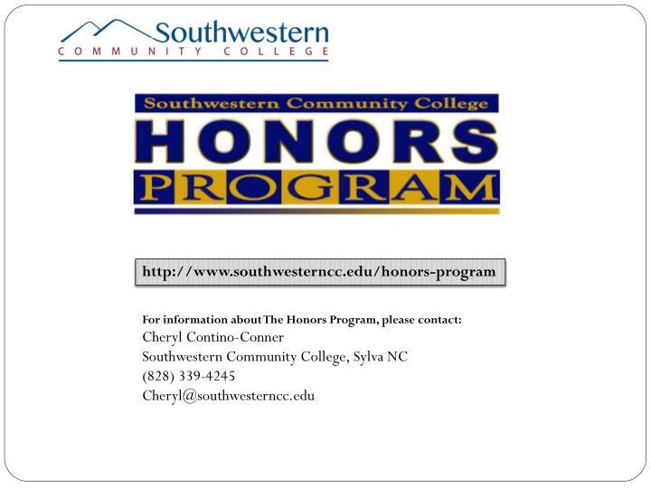 http://www.southwesterncc.edu/honors-program