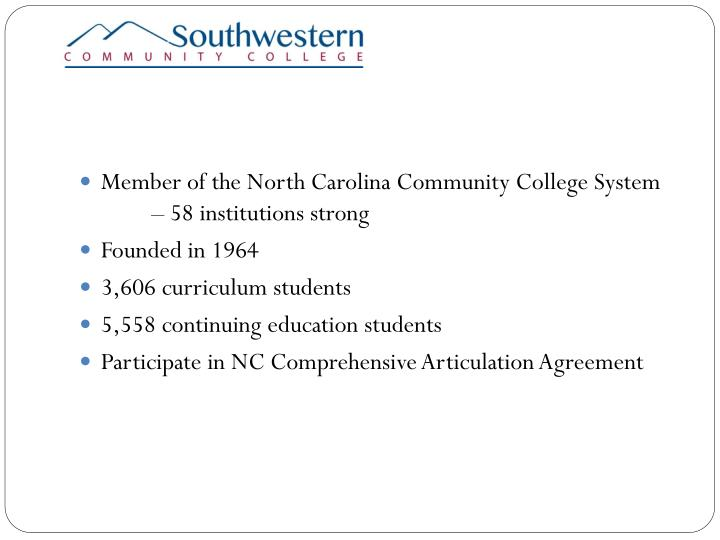 Member of the North Carolina Community College System – 58 institutions strong