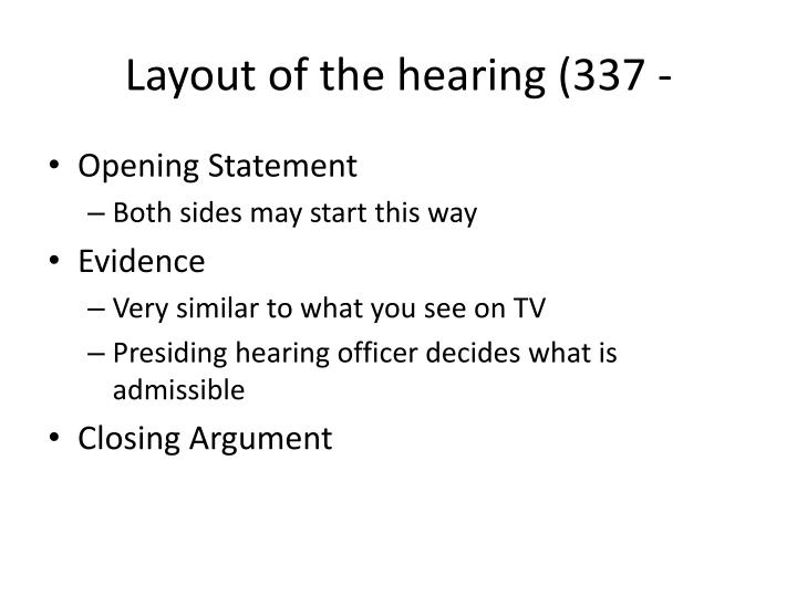 Layout of the hearing (337 -