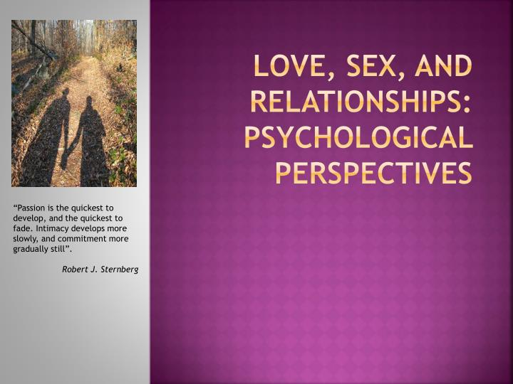 love sex and relationships psychological perspectives n.
