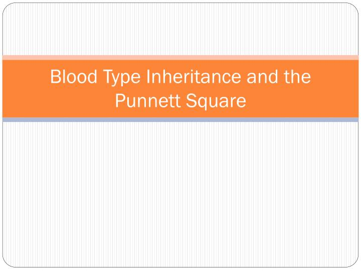 blood type inheritance and the punnett square n.