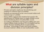 what are syllable types and division principles