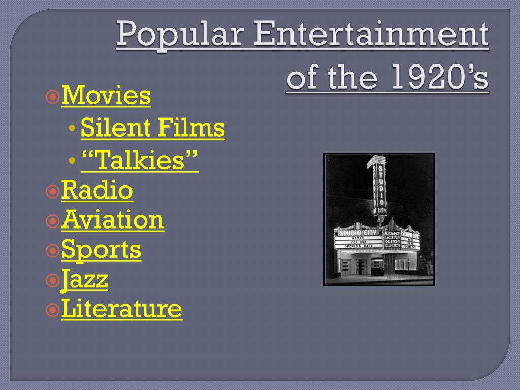 ppt popular entertainment of the 1920 s powerpoint presentation